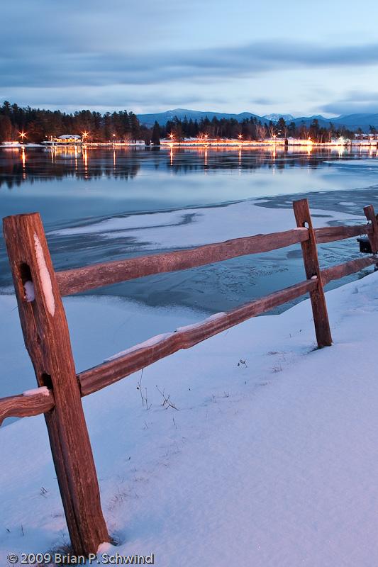 Winter Night on Mirror Lake, Lake Placid, NY