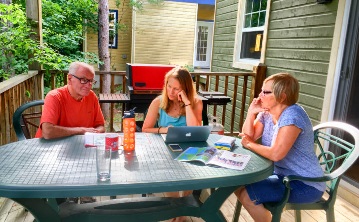 Ironman Mont-Tremblant 2016 - Denise and her parents planning out their course of action for raceday. Spectating looks like a lot of work? I'll just stick to racing thanks!
