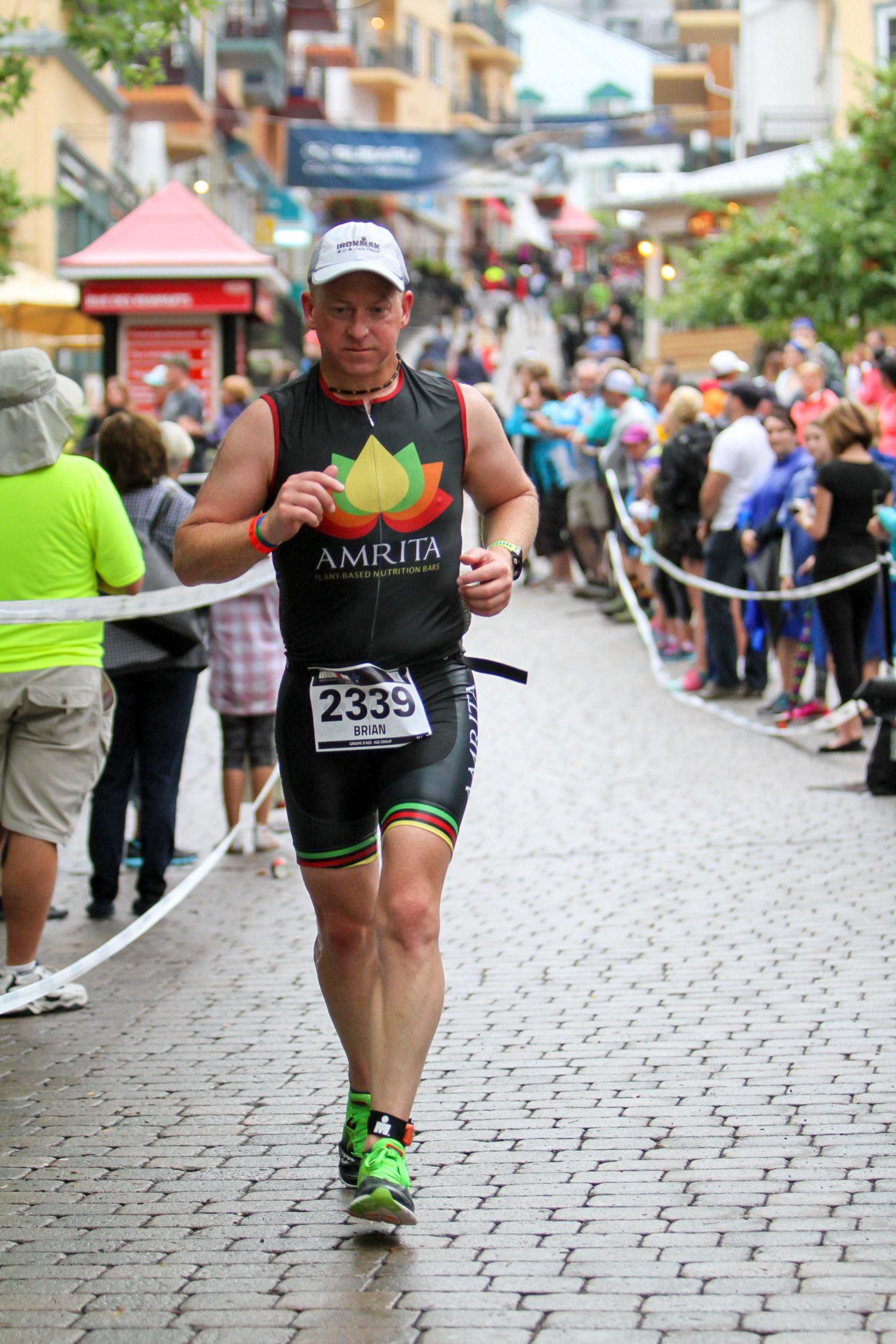 Ironman Mont-Tremblant 2016 - running through the village with a bunch of Clifblocks stored in my cheeks. #LikeAChipmunk