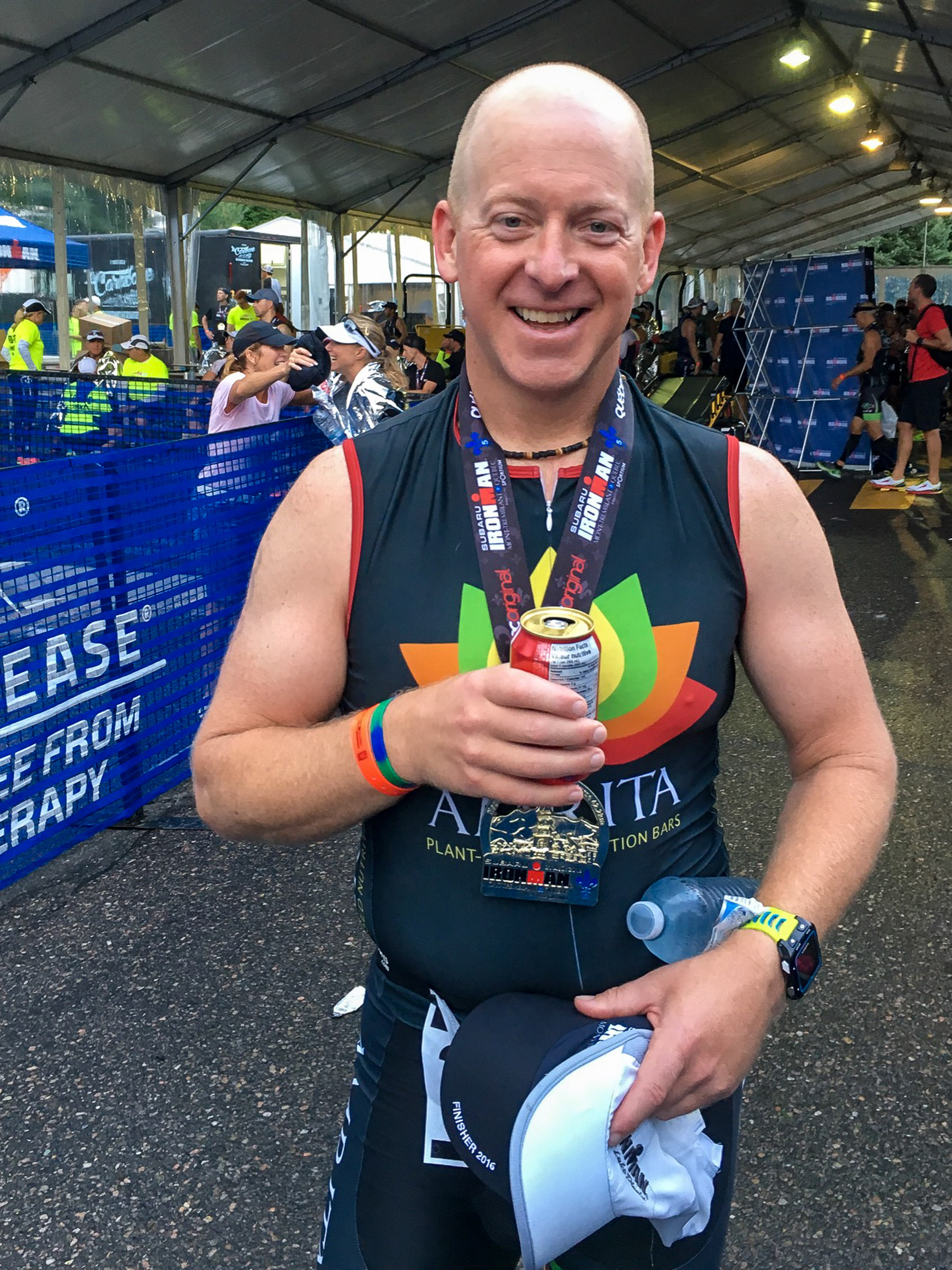 Ironman Mont-Tremblant 2016 - Feeling pretty relaxed after finishing and just coming back from my post-race massage.